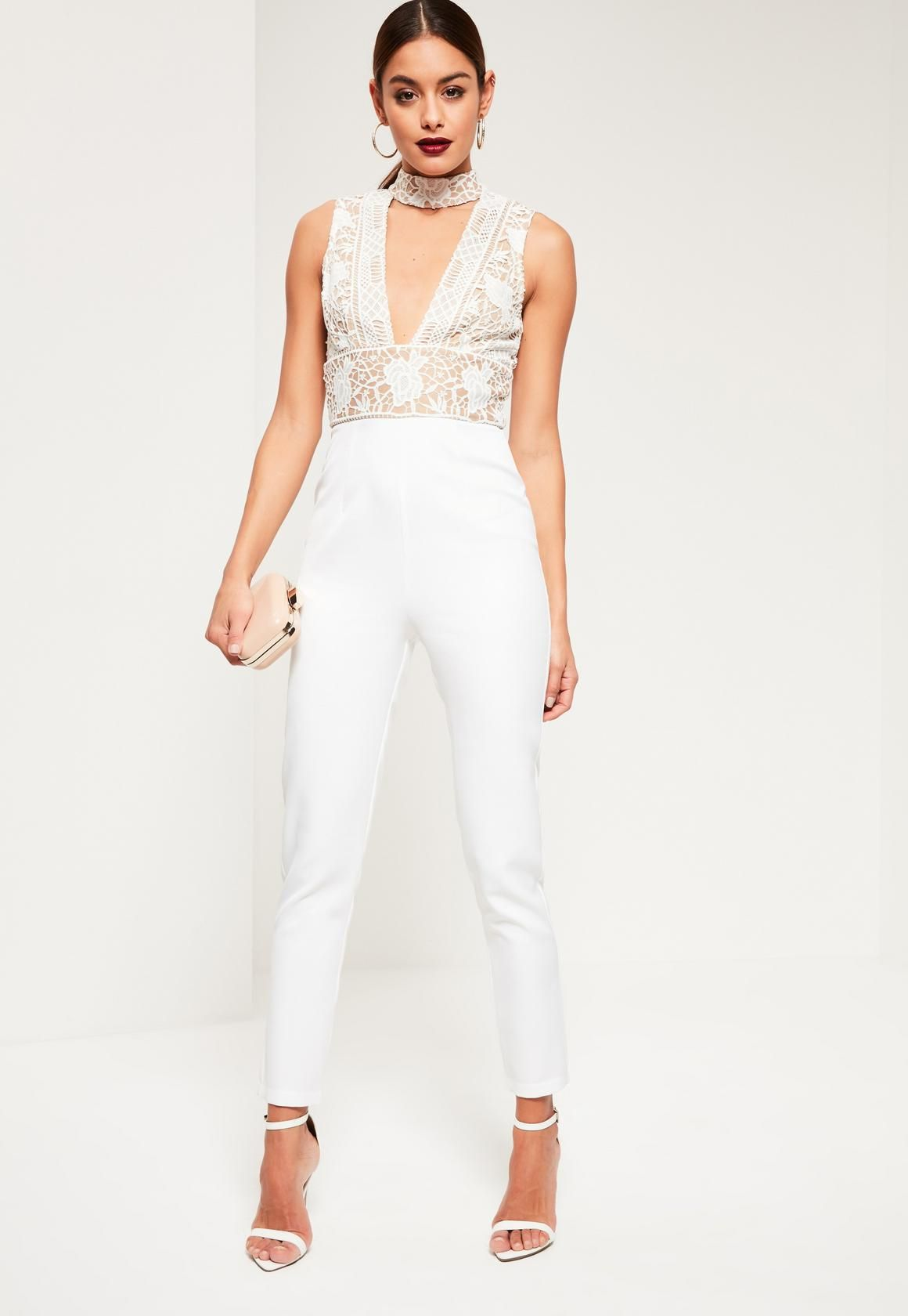 24f9ff4a3d2 Missguided - White Lace Top Choker Sleeveless Jumpsuit