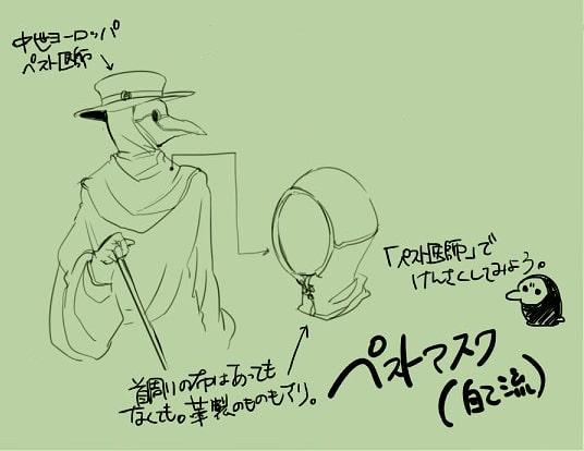ペストマスクの描き方をイラスト解説 中世ヨーロッパ ペスト医師のマスクの構造を覚えよう お絵かき図鑑 ペストマスク ペスト医師 イラスト