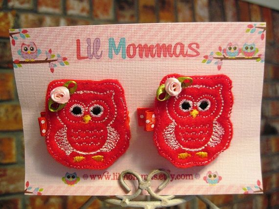 Valentine felt clip owls pair by lilmommas on Etsy, $4.50