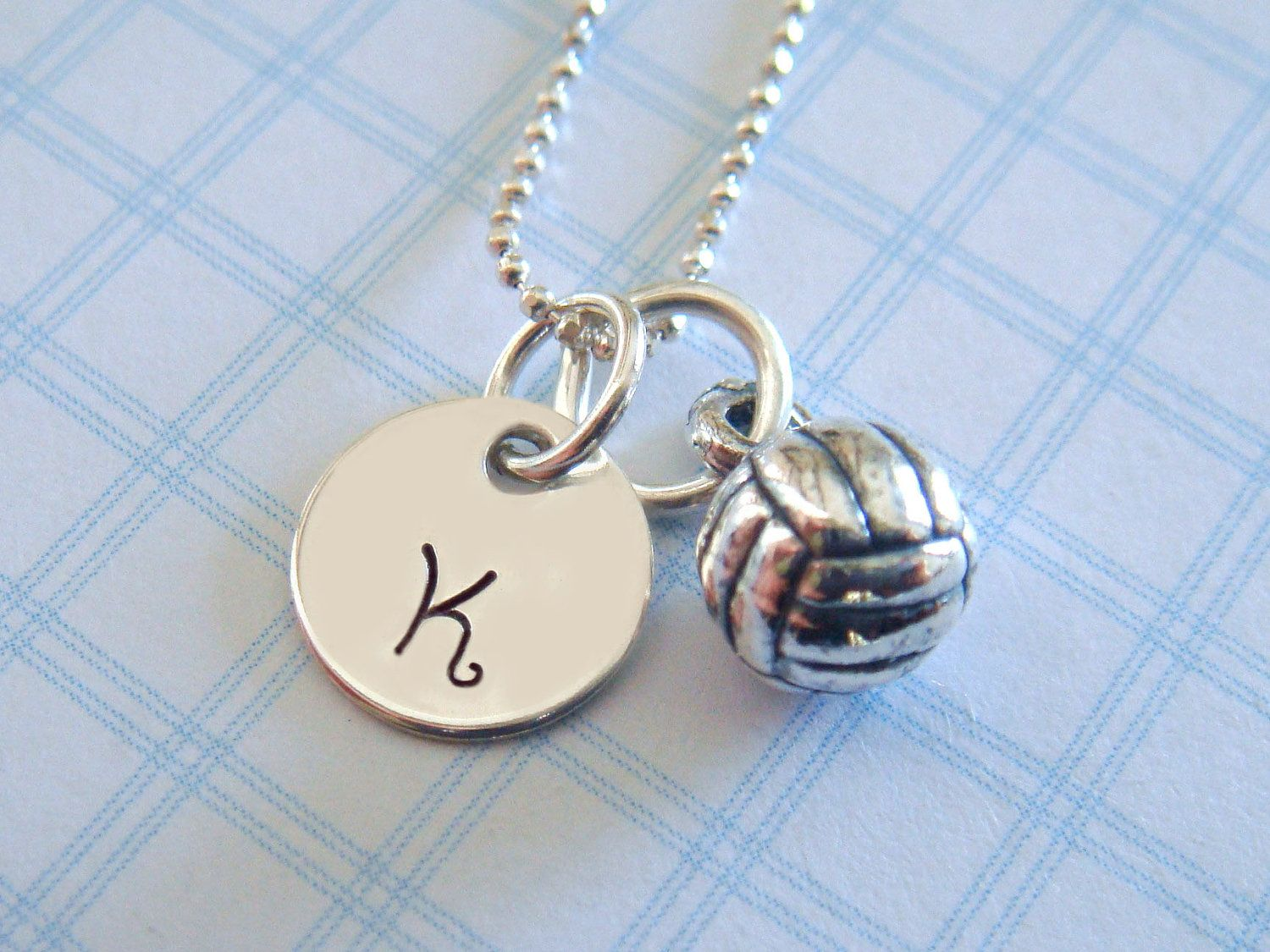 Volleyball Necklace Hand Stamped Jewelry by KristyLynnJewelry
