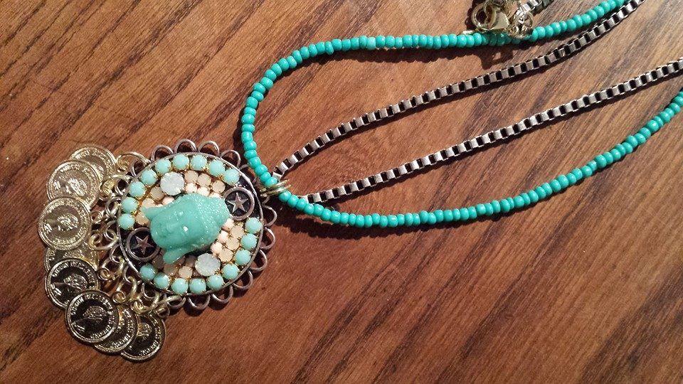 Collier turquoise et perles  www.claudiapiergentili.com