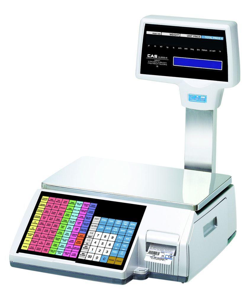 Details about cas cl5000r label printing tower scale 60 lb