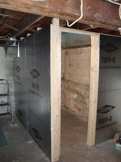 Rigid Foam Insulates And Acts As A Vapor Barrier For This Basement Root Cellar Root Cellar Root Cellar Plans Root Cellar Storage