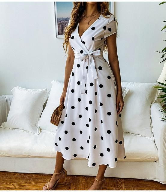 Photo of 2019 Summer Dress Women Vintage Dress Casual Polka Dot Print A-Line Party Dresses Sexy V-neck Short Sleeve Long Dress Fashios
