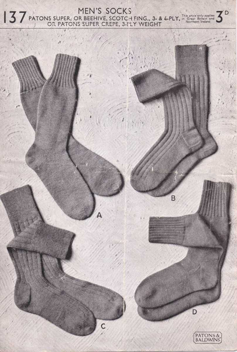 The Vintage Pattern Files: Free 1950s Knitting Pattern - Men\'s Socks ...