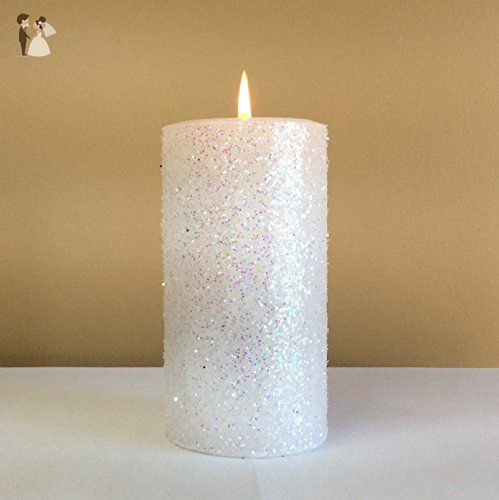 White Glitter Pillar Candle Wedding Party Decor Choose 4 6 9 Inches Tall Wedding Candles And Holders Amazon Pa Pillar Candles Glitter Candles Candles