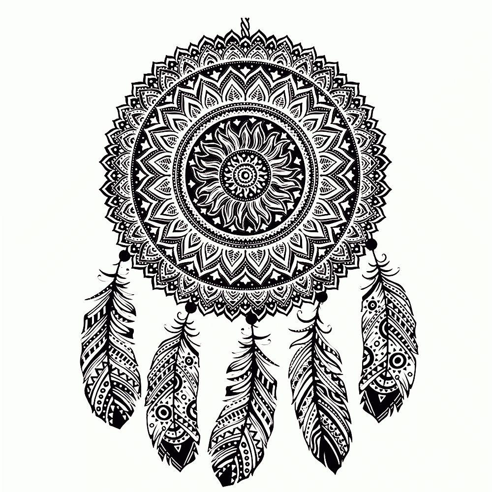 Kleur Allemaal Deze Tekening En Je Wordt Vrolijk Color All This Drawing And You Will Be Happy Mandala Kleurplaten Dromenvanger Mandala