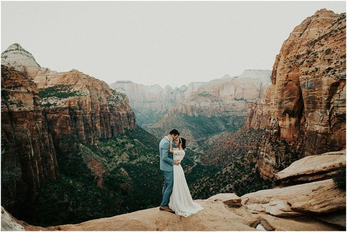 Had such a blast shooting with these two down in Zion this month! From scaling steep red rock, to hiking in their dress + suit a whole mile to stand on the edge of the canyon overlook (I know, they…