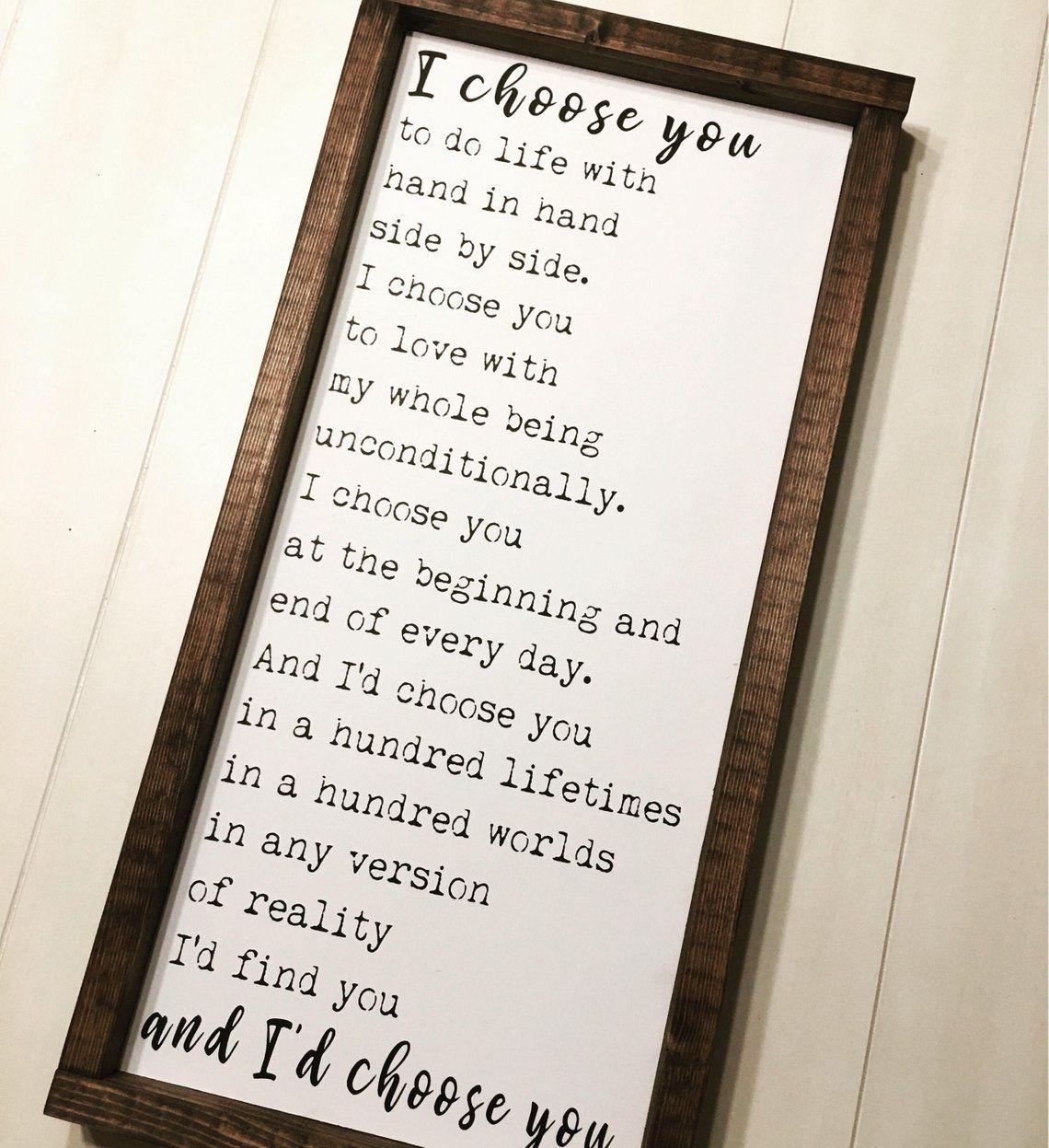 22nd Wedding Anniversary Gift Ideas: I'd Choose You Sign, Wedding Gift, Anniversary Gift
