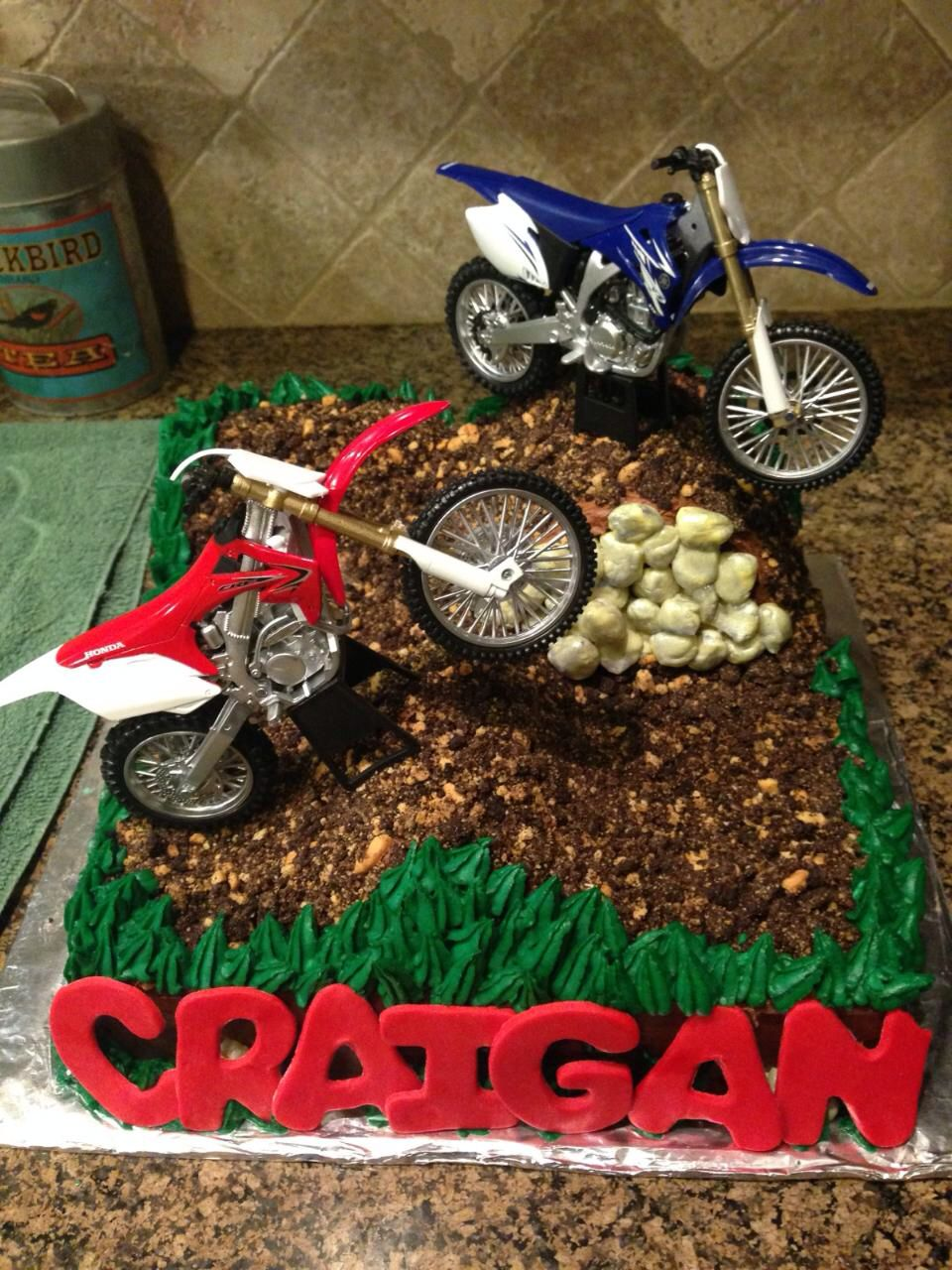 Stupendous Dirt Bike Cake Courtneys Confections Courtneysconfectionsok Funny Birthday Cards Online Overcheapnameinfo
