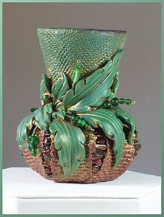 polymer+clay+vases | Hand-sculpted polymer clay vase with tiger eye and glass beads ...