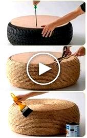 Artesanato com pneus e corda