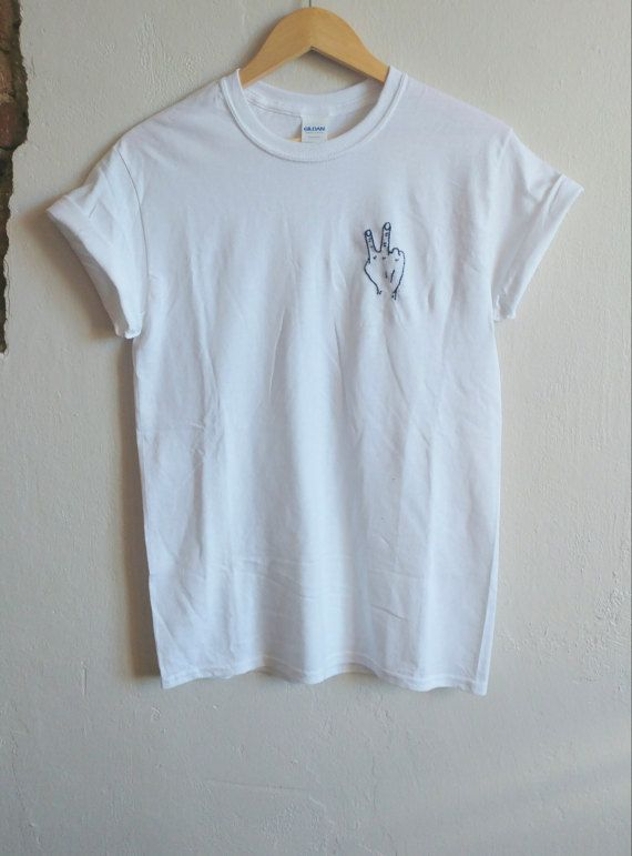 Peace Out Tumblr Hand Shirt hand stitched indie by SpacyShirts
