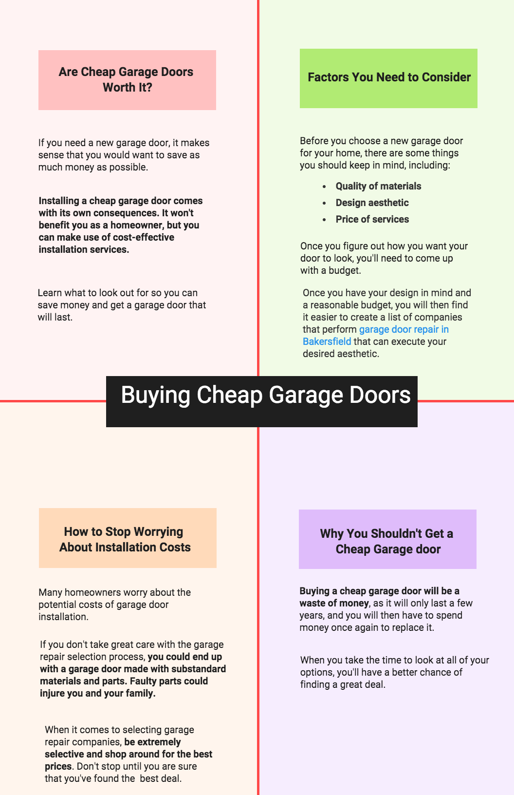 Buying Cheap Garage Doors Infographic Precision Doors Garage