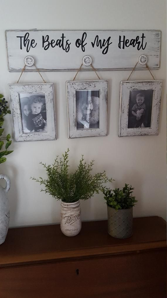 Farmhouse rustic picture hanger with 4x6 frames, The beats of my heart, This is Us, White distressed photo display, Mother's Day gift