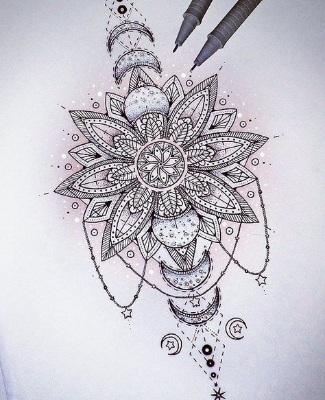 Tatto Ideas 2017 @Saphirevicky on Instagram mandala eclipse tattoo design