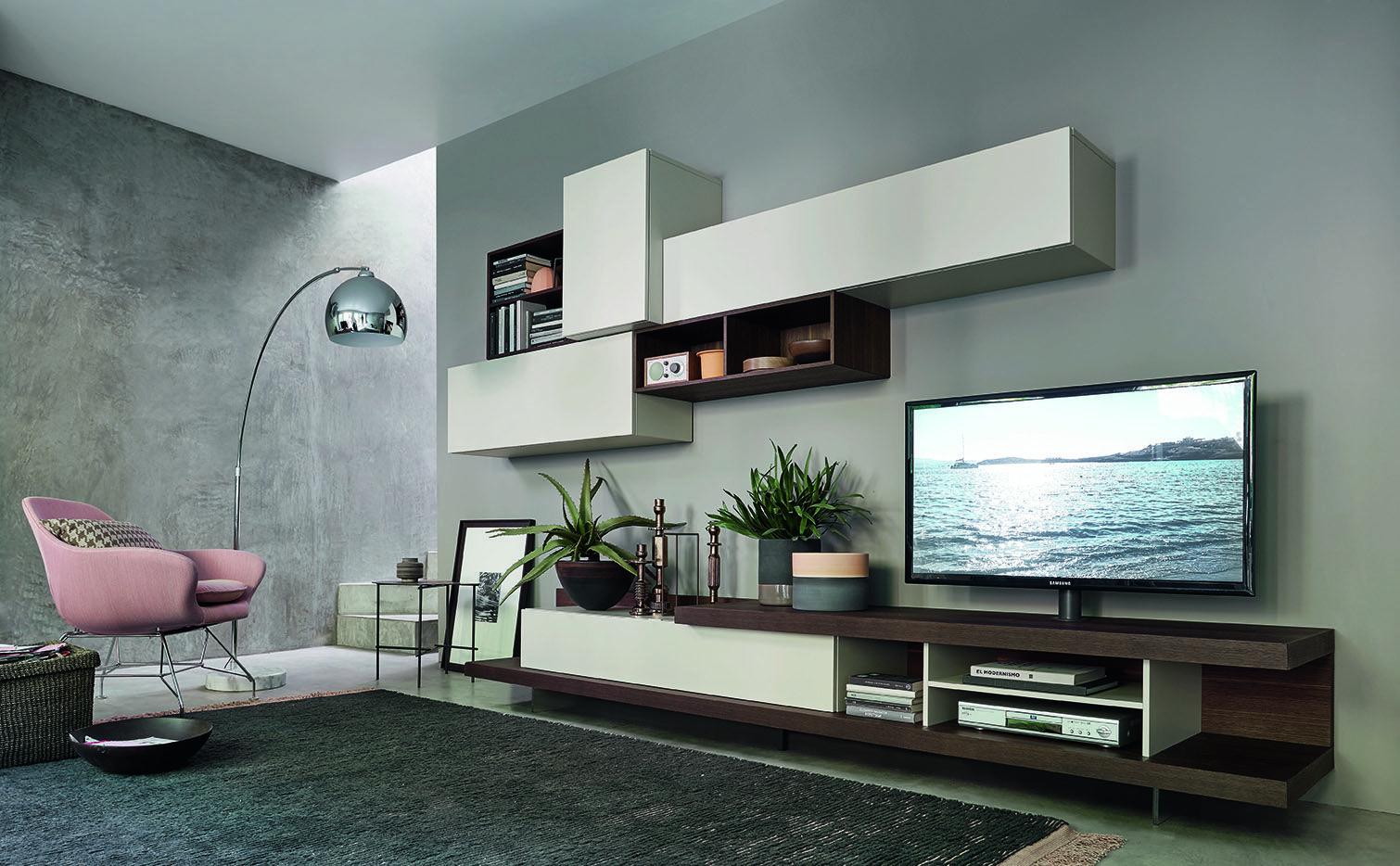 Besondere Wohnwand C52 Von Livitalia Aus Italien Mit Integrierter Säulen TV  Halterung. #Wohnwand #Wohnzimmer #TVBoard #Hängeschrank #livingroom  #furniture