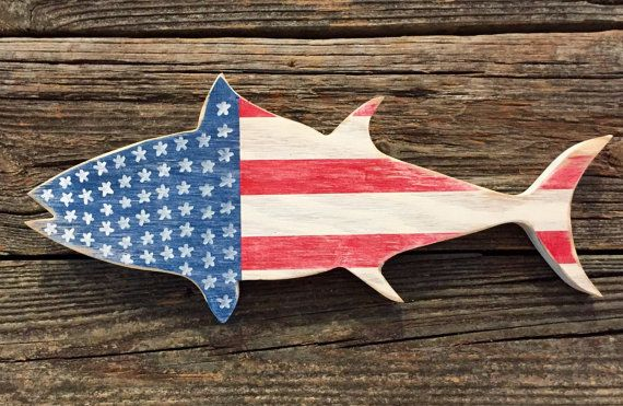 Distressed wood white red blue striped tuna nautical usa for American flag fish