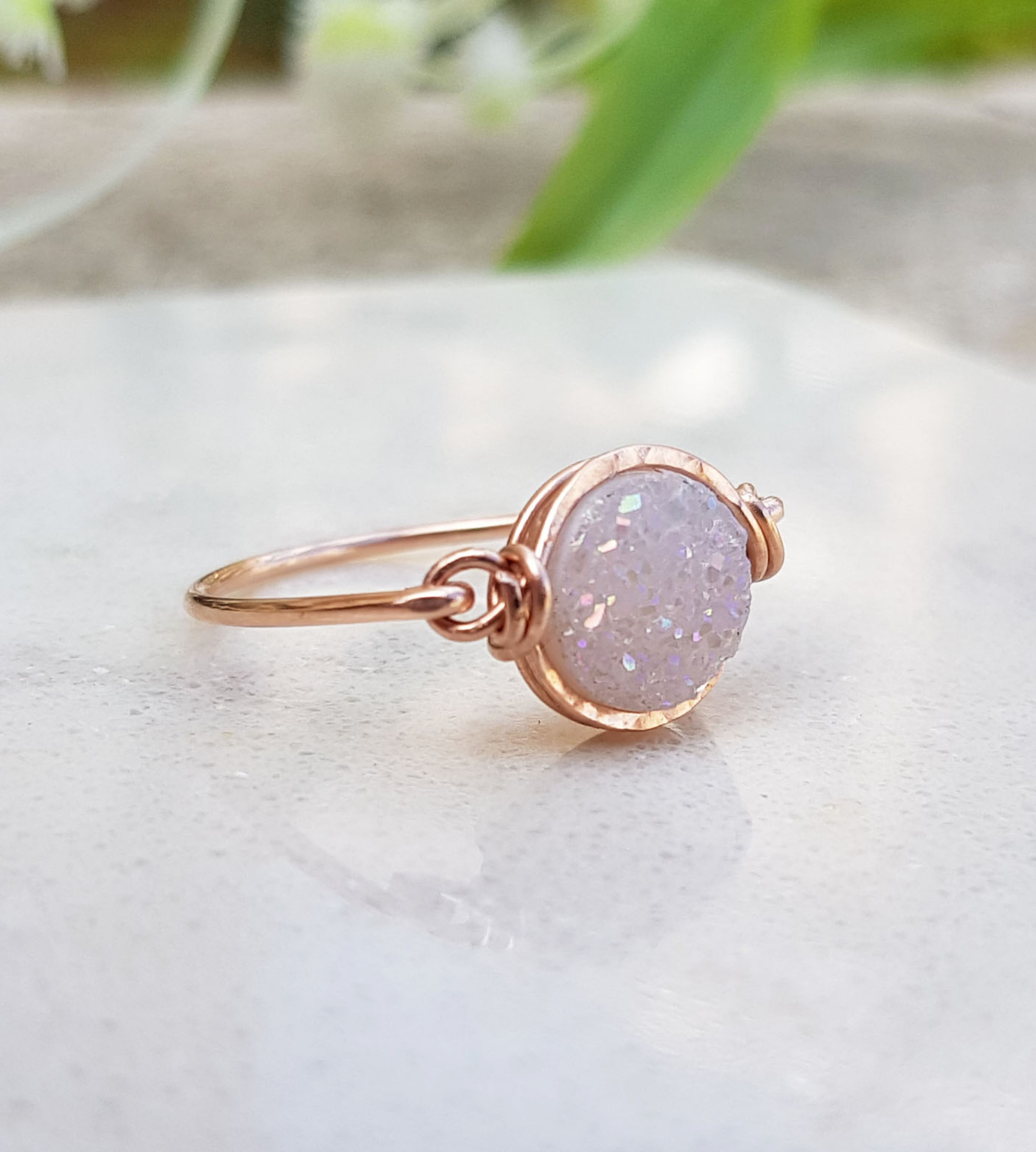 Double rose quartz stone ring,gemstone ring,gold ring,solid gold ring,rose gold ring,teardrop ring,stackable ring