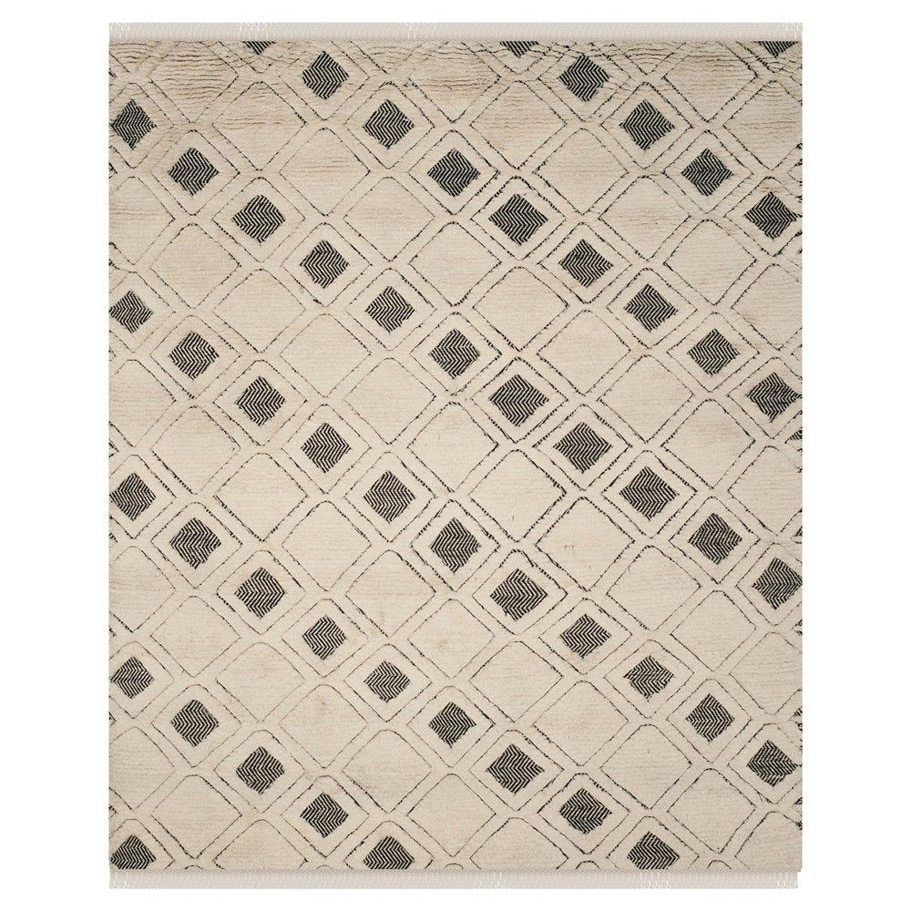 Ivory/Black Abstract Knotted Area Rug - (5'x8') - Safavieh, Beige