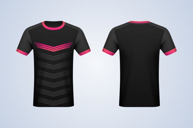 Download Front and back black with strips jersey ... | Premium ...