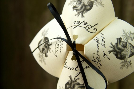 Heart Inspired Cootie Catcher Wedding Programs