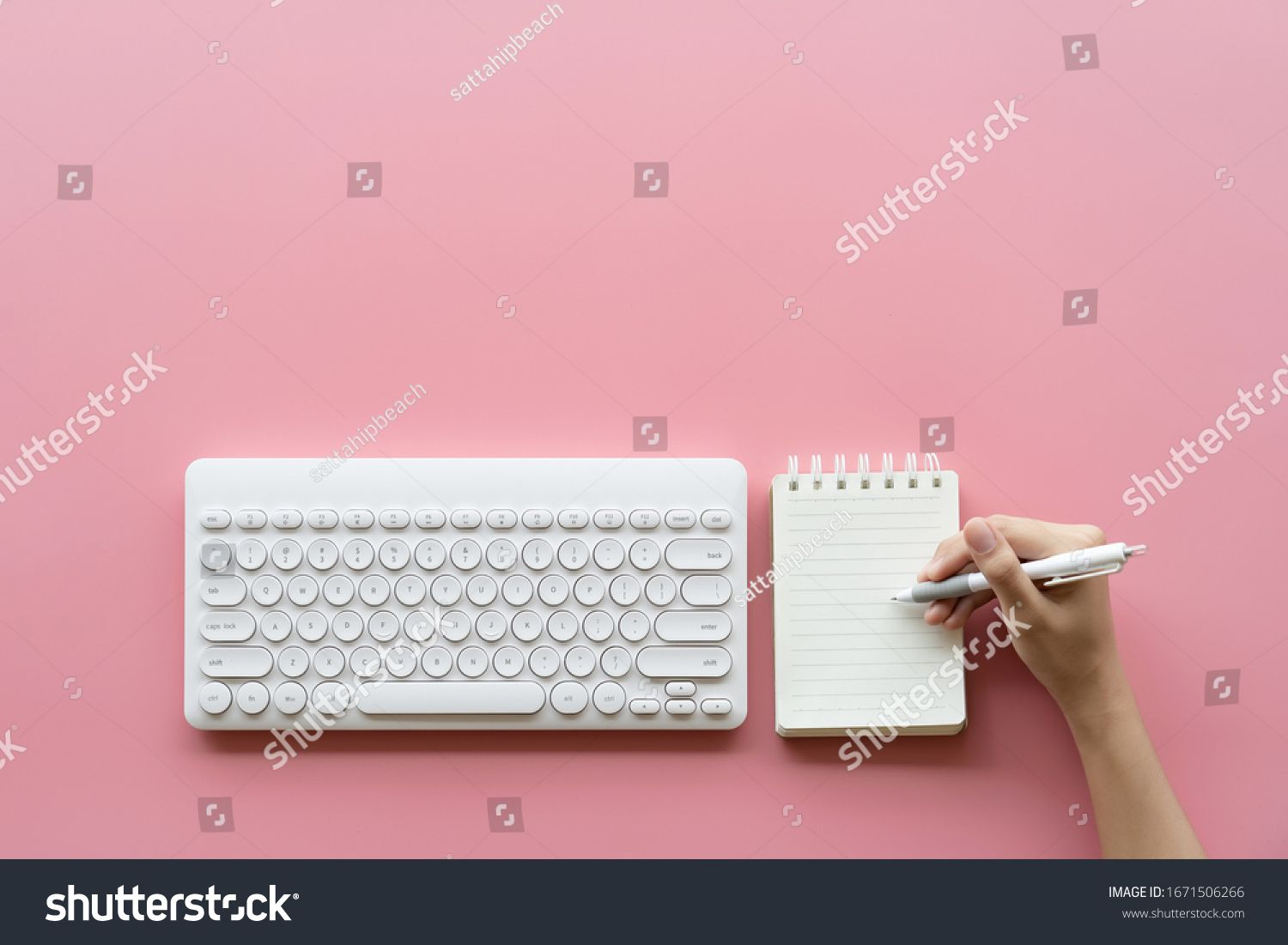 Keyboard Computer And Hand Draw Notepad Object On Pink Color Pastel Tone On Background Short Note Writing List To D Ad How To Draw Hands Note Pad Objects