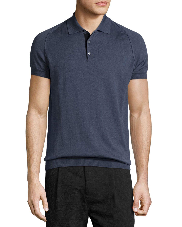 Short-Sleeve Button-Front Sweater, Smoke/Gray, Men's, Size: M, Smoke Grey - CoSTUME NATIONAL
