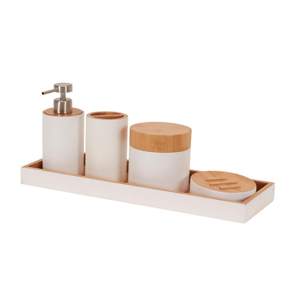 Household Essentials Elements 5 Piece Bath Vanity Accessory Set
