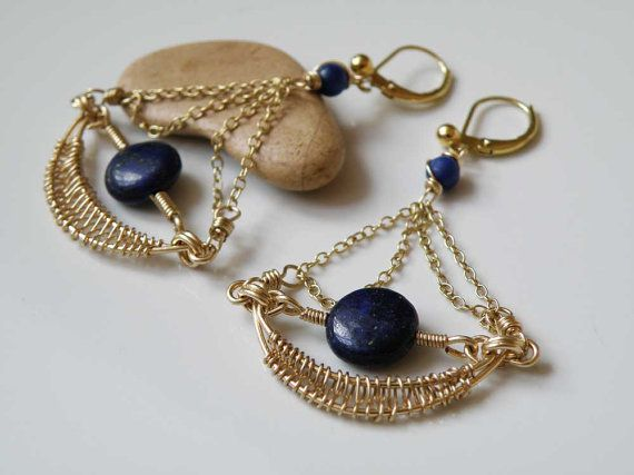 Lapis Lazuli gemstone earrings - wire wrapped with gold filled gauge - Elegant Ethinc Jewelry - Handmade - OOAK