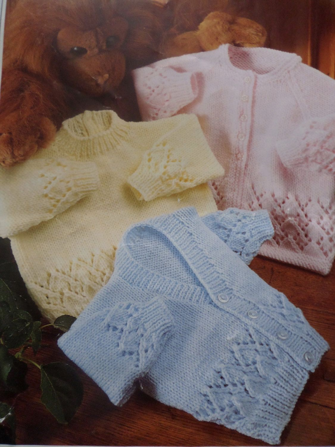 Babies Knitting Pattern Cardigans and Jumper Quick Knit DK 16-22 ...