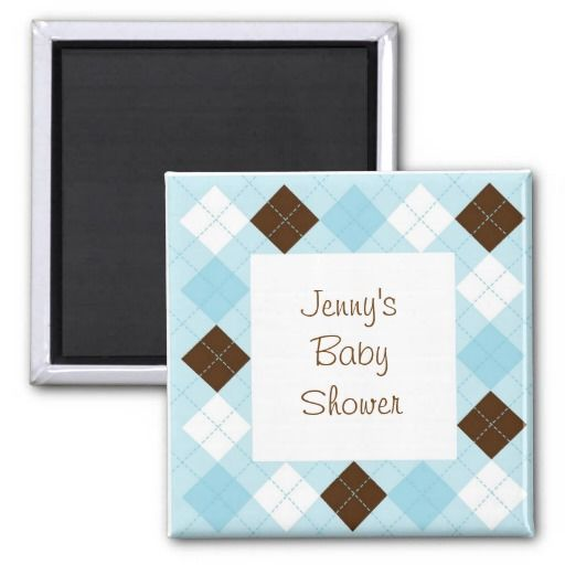 Modern Baby Blue Argyle Party Favor Magnets