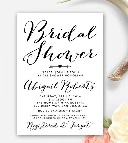 Custom Black and White Bridal Shower Invitation. Order yours at Boardman Printing