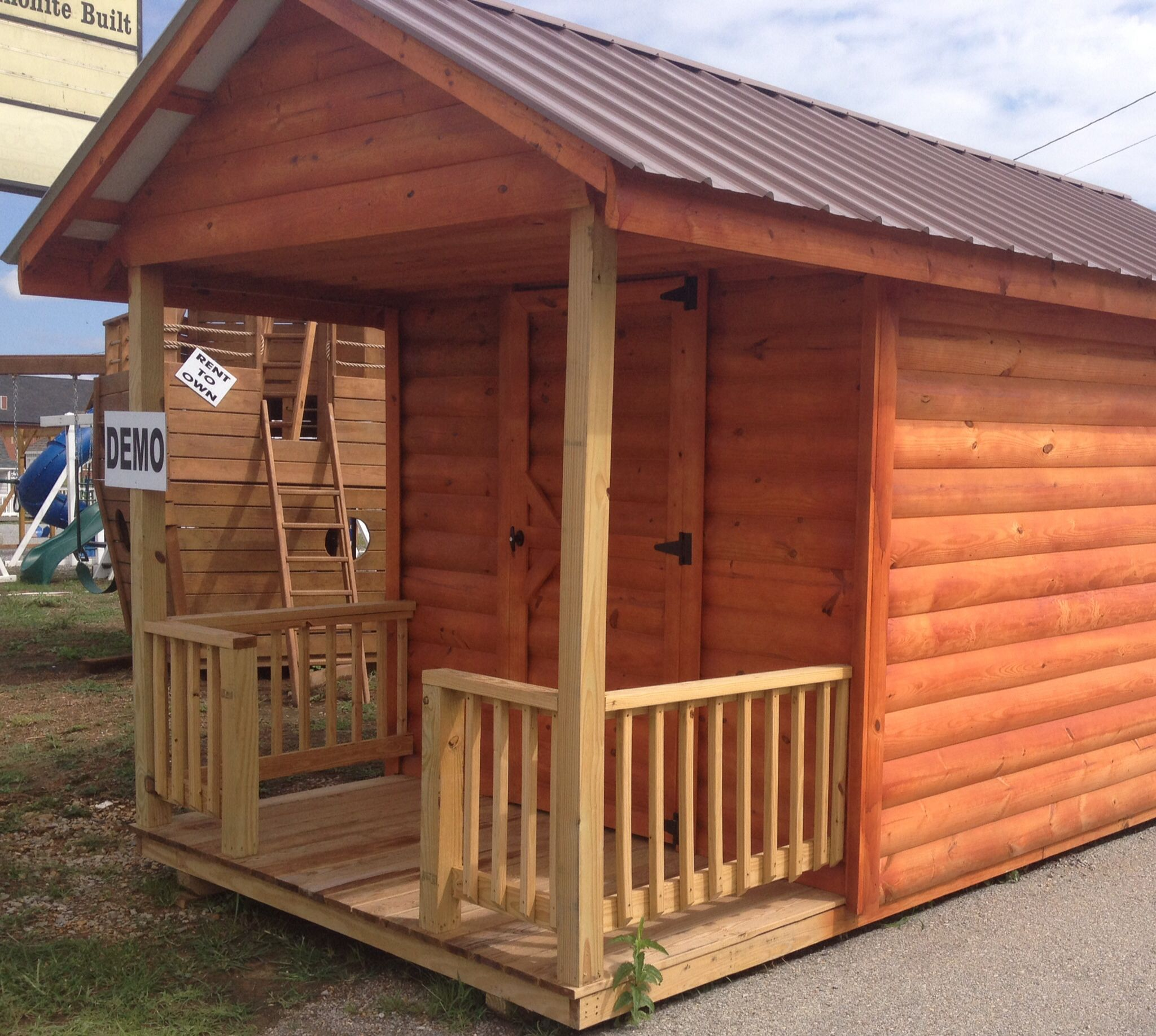 Real Tongue And Groove Half Log Sided Buildings Amish Made Log Siding Portable Cabins Outdoor Decor