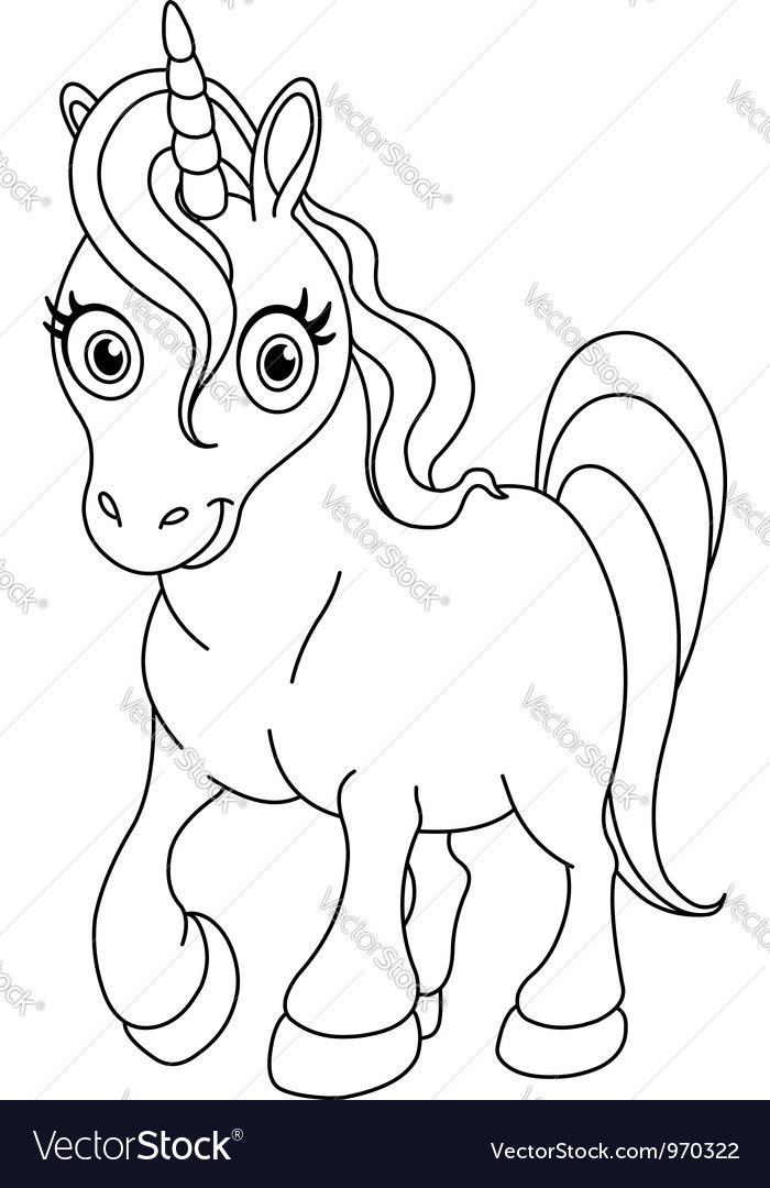 Outlined cute unicorn. Download a Free Preview or High Quality Adobe ...