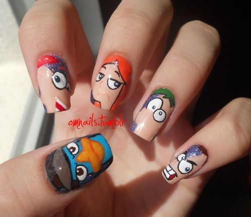 """Phineas and Ferb!  Week One project was an """"104 days of summer"""" creation.  Check out these surreal nails!"""