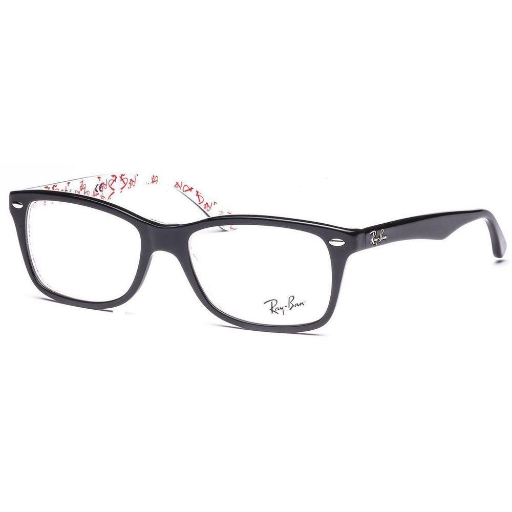 a9185c8e2e New Ray Ban RB 5228 5014 50 17 Eyeglasses Black Red White Frame  RayBan
