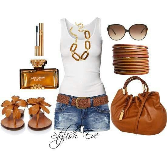 Casual summer outfit with jean shorts, white tank top n tan accents