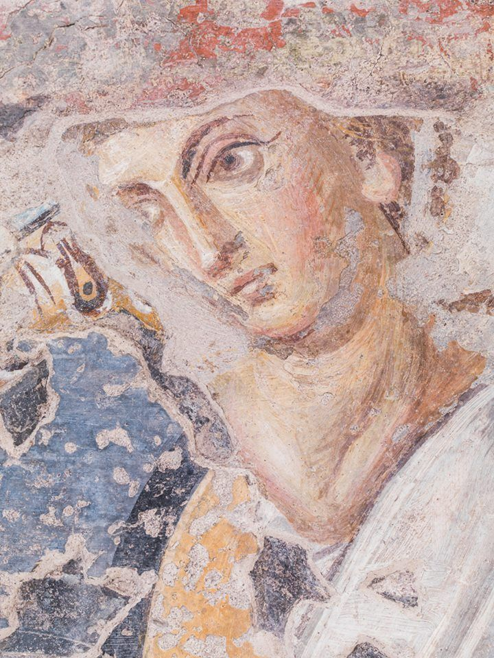 Santa Maria Antiqua, Roma, particolare dell'Angelo bello, l'affresco, 565-578. Kitzinger attribuisce bel angelo all'inizio del VII secolo