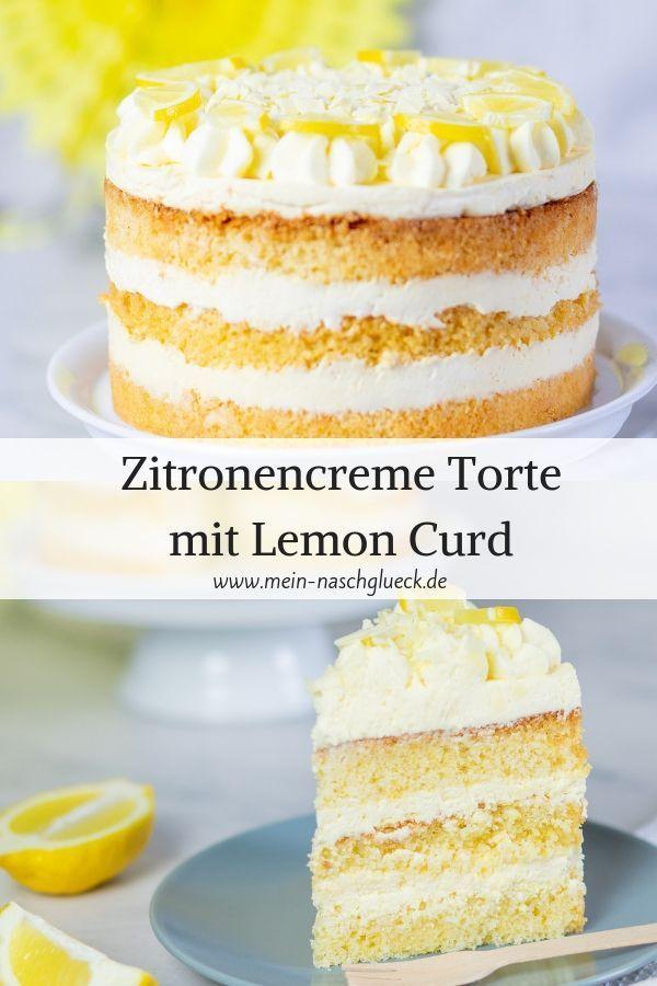 Zitronencreme Torte Mit Lemon Curd In 2020 Lemon Cream Cake Dessert Recipes Easy Cream Pie Recipes