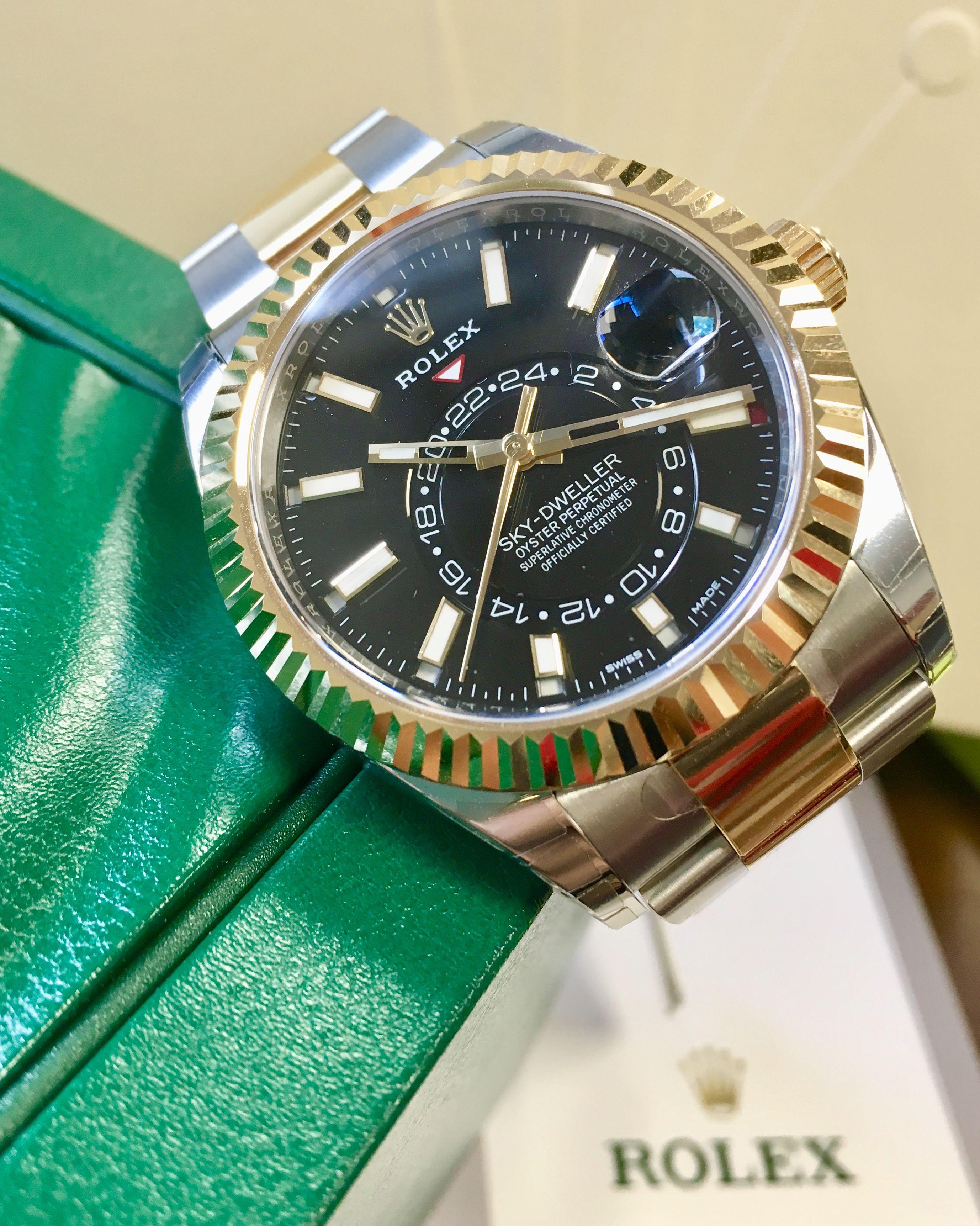 Rolex Sky Dweller Steel Yellow Gold Black Dial 326933 Rolex Rolex Watches Watches For Men