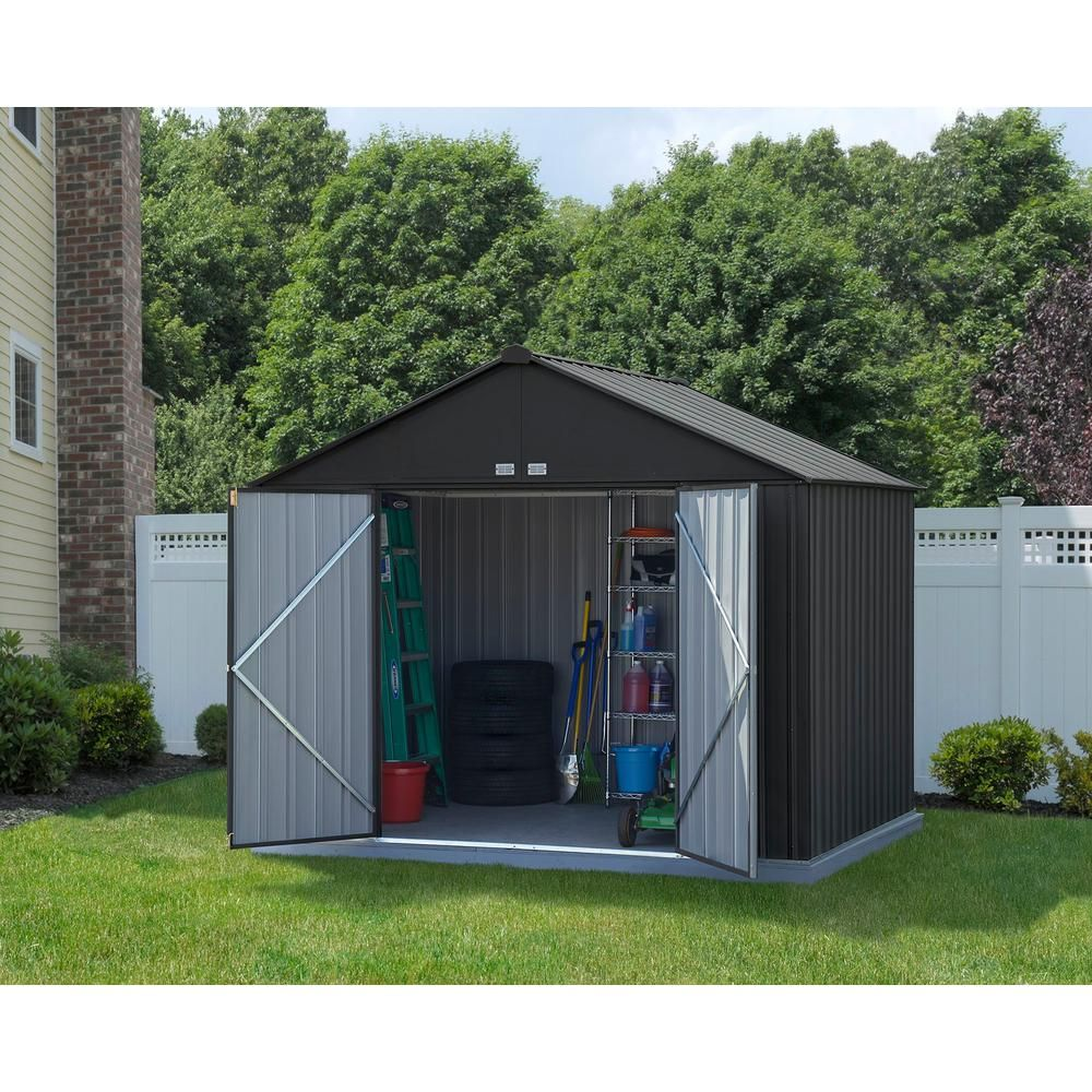Arrow 10 Ft W X 8 Ft H X 8 Ft D Ezee Extra High Gable Shed In Charcoal With Snap It Quick Assembly And Swing Door Design Ez10872hvcc Steel Storage Sheds Metal Storage