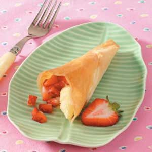 Coconut Strawberry Phyllo Cones Recipe -Cute enough to serve weekend guests, these charming desserts come together with phyllo dough and a few kitchen staples.
