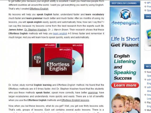 Www Power English Net Effortless English Listening Mp3 Lessons Are Very Helpful To Improve English Speaking Y Learn English Learn Real English English Lessons