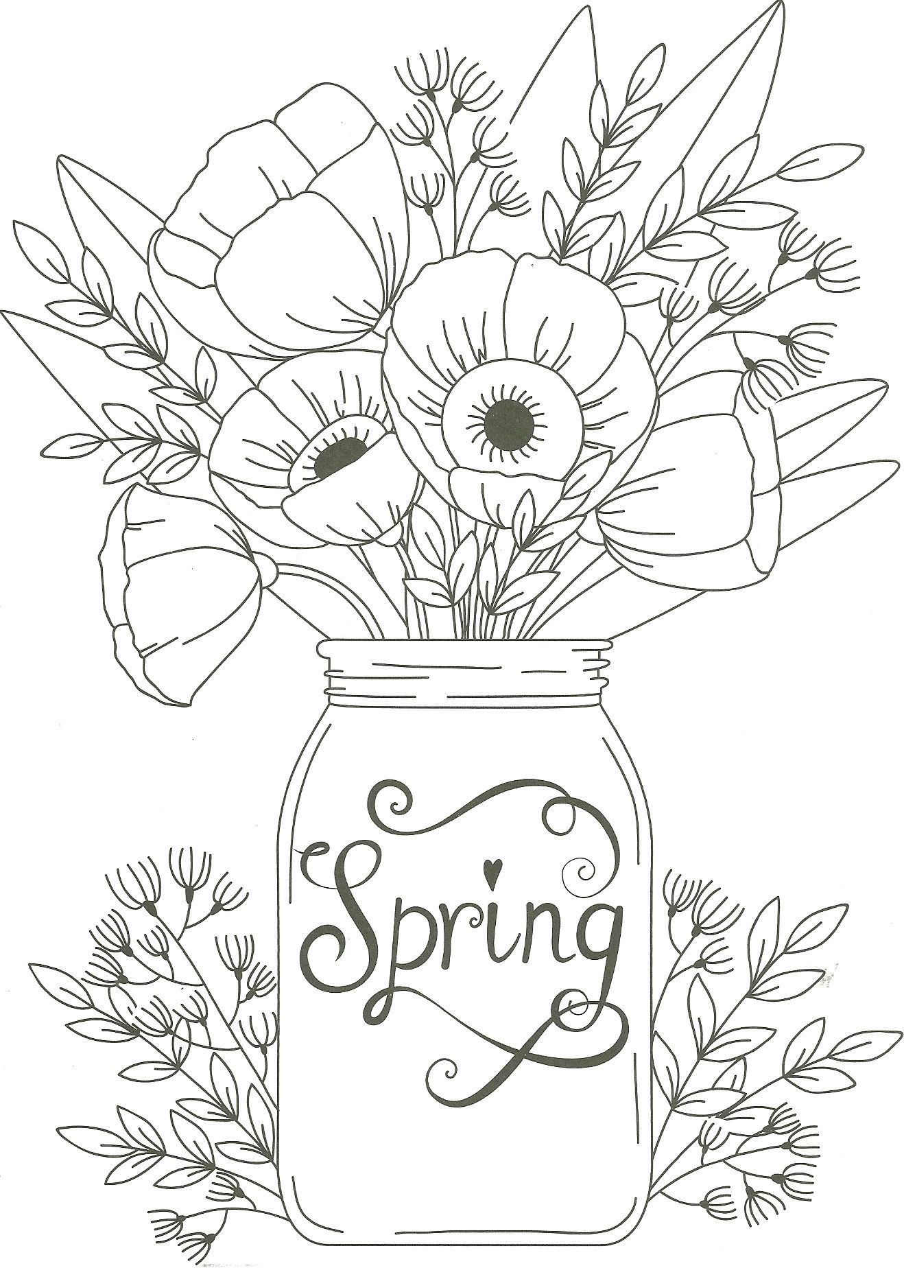 spring mason jar floral coloring page (With images ... | spring flower coloring pages