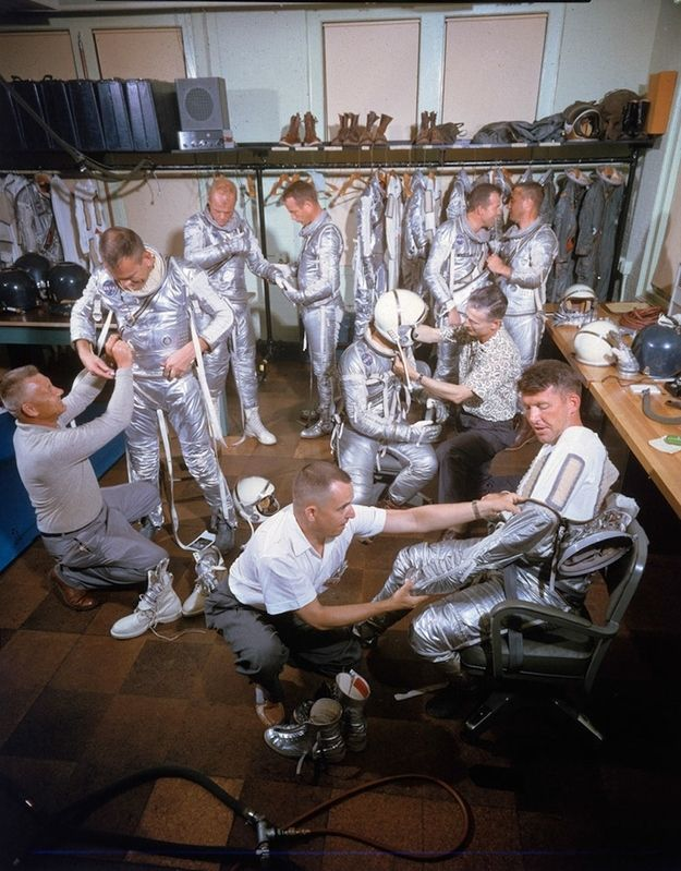 1959: Astronauts on the Project Mercury mission — the first human spaceflight mission ever. We were working on beating the Russians then. | Take A Look Inside NASA In The '50s
