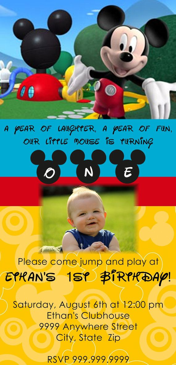 Invitation Wording For Mickey Mouse Party.  April Winfield Custom Made Mickey Mouse Clubhouse by LittleGiftsofLove on Etsy 13 00
