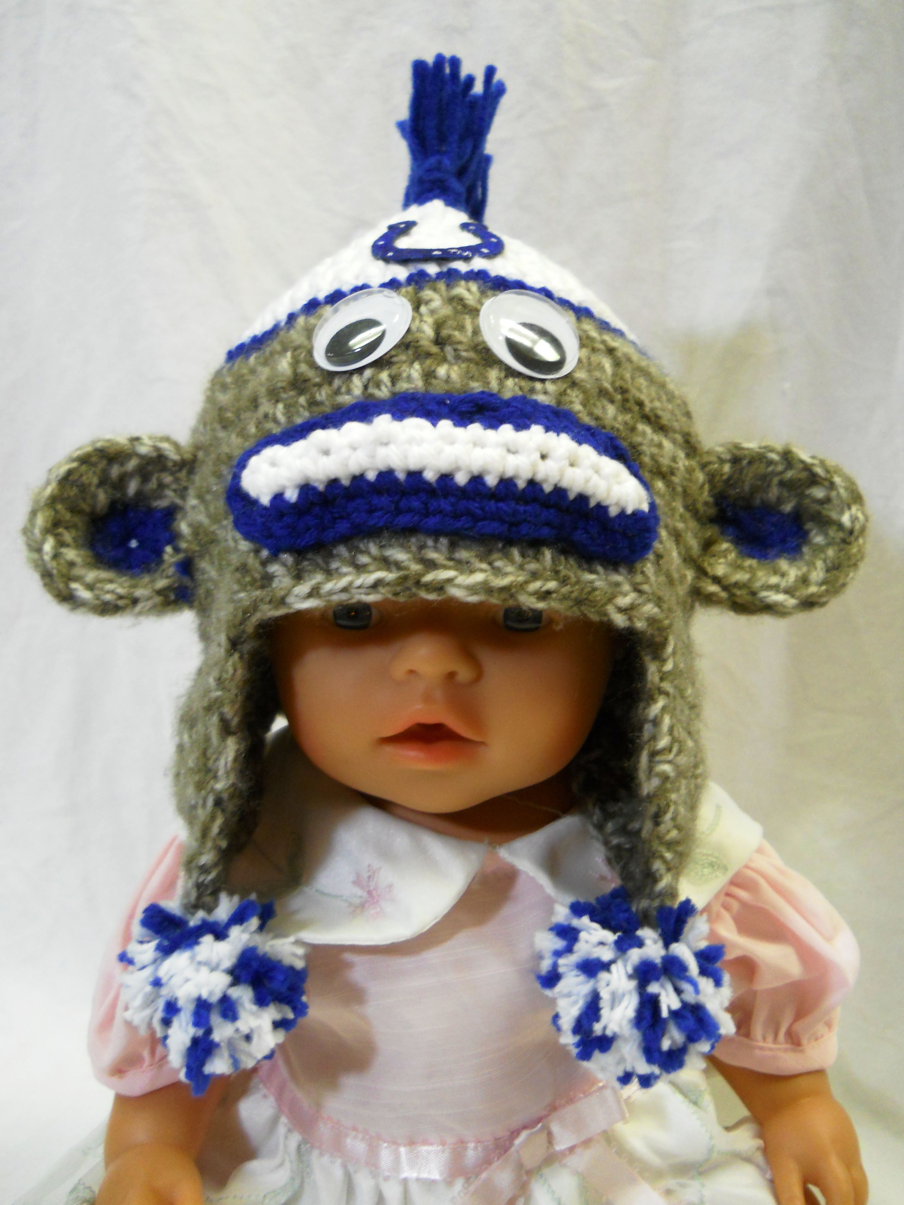 Crochet colts sock monkey hat colts football pinterest monkey