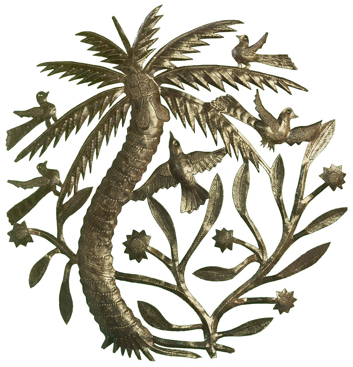 Palm Tree Kitchen Decor Cabinet Replacement Le Primitif Galleries Haitian Recycled Steel Oil Drum