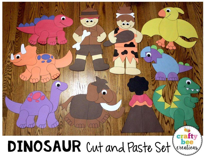 Dinosaur cut and paste set that includes patterns and for Sticky boards for crafts
